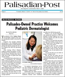 "Palisadian Post: ""Palisades-Owned Practice Welcomes Pediatric Dermatologist"""